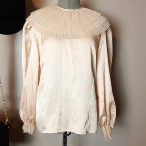Vintage 80s victorian blush satin pleated blouse
